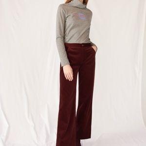 m.i.h. jeans Burgundy Flare high rise Velvet pant